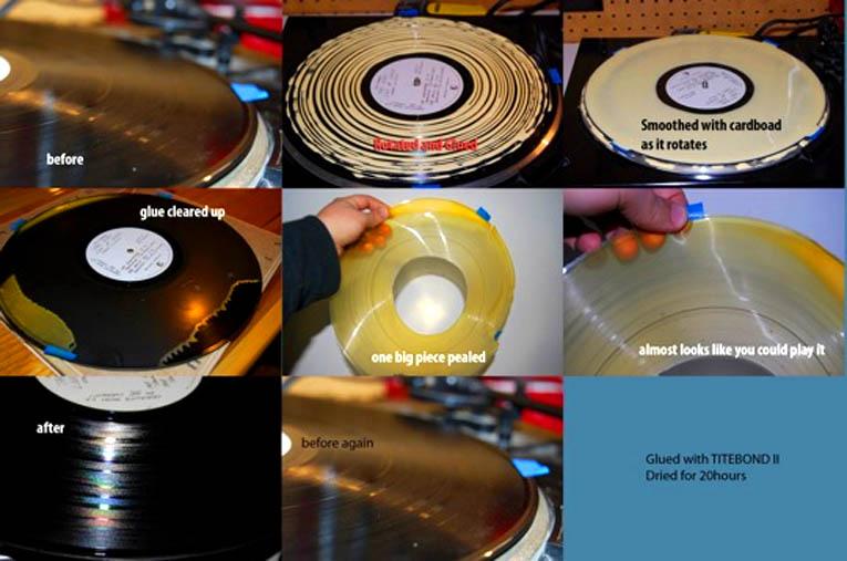 Proceso de limpieza de un disco de vinilo